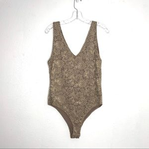 Painted Threads Nude Lace Body Suit XL NWT